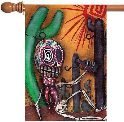 Toland Sugar Skull Cactus 28 x 40 Southwest Desert Pop Art H