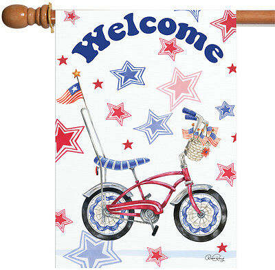Toland Patriotic Cruiser 28 x 40 Welcome Bike Red Blue Stars Stripes House Flag