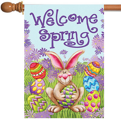 Toland Welcome Spring 28 x 40 Easter Bunny Colorful Egg Doub