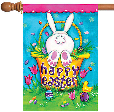 Toland Bunny Tail 28 x 40 Colorful Happy Easter Egg Rabbit House Flag