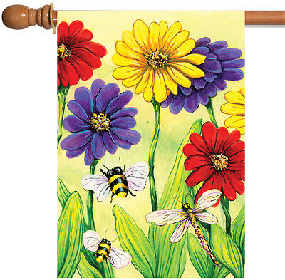 Toland Zinnia Flight 28 x 40 Colorful Spring Flower Bee Dragonfly House -