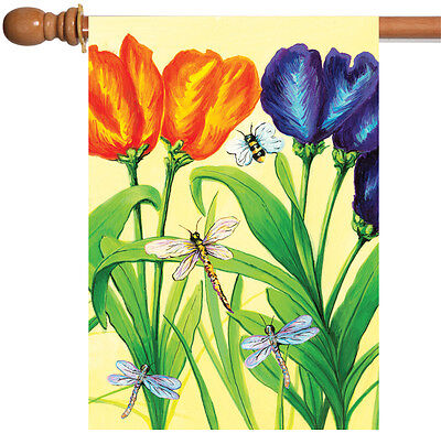 Toland Tulip Flight 28 x 40 Colorful Spring Flower Dragonfly House Flag