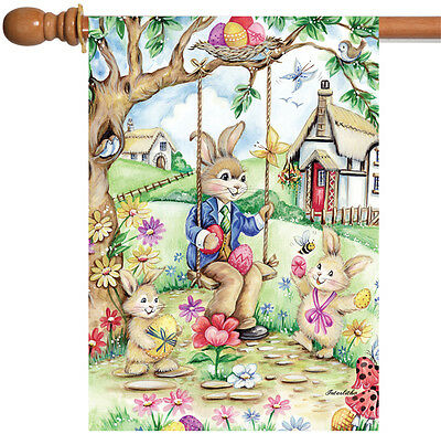 Toland Easter Bunny Swing 28 x 40 Colorful Egg Rabbit Spring Flower House Flag