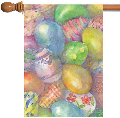 Toland Easter Eggs 28 x 40 Colorful Watercolor Pastel Patter