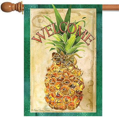 Toland Pineapple Welcome 28 x 40 Cute Green Fruit House Flag ()