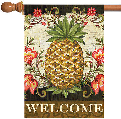 Toland Pineapple & Scrolls 28 x 40 Welcome Flower Double Sided House Flag ()