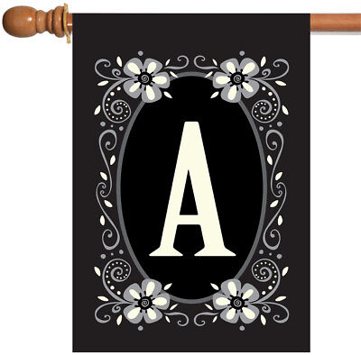 Toland Classic Monogram 28 x 40 Chic Decorative Flower Initial House Flag - Flag Decorations