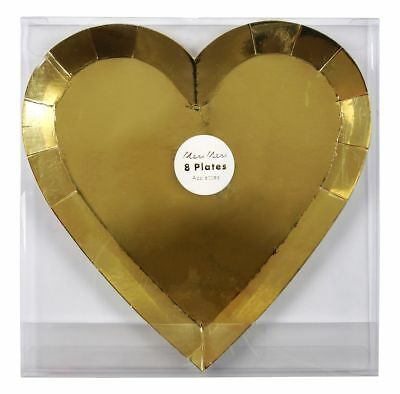 8 x Shiny Gold Foil Heart Shape Party Plates Valentines Wedding Engagement Hen
