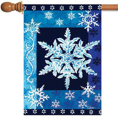 NEW Toland - Cool Snowflakes - Christmas Winter Blue White House Flag