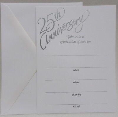 25th Anniversary Party Write In Invitations & Envelopes 25 pack (25th Wedding Anniversary Invitations)