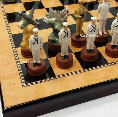 2 Maple-finish (WW2 PEARL HARBOR US vs Japan Chess Set W/ Walnut & Maple Finish Board 15