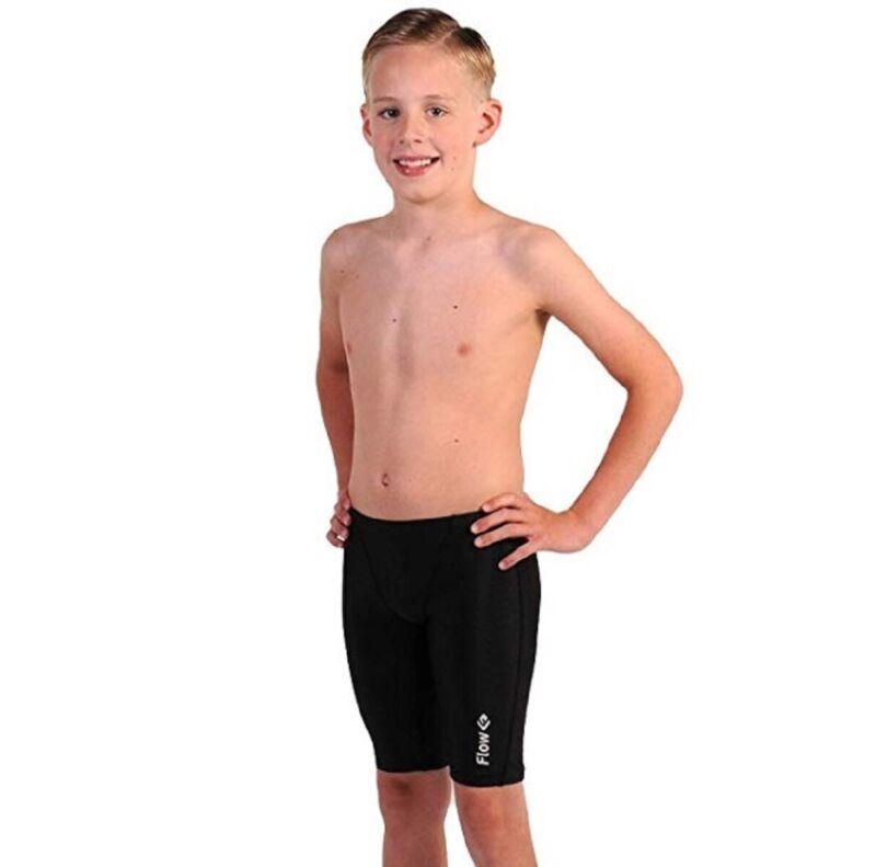 Flow Swim Jammer Black Boys Youth Sizes 21 to 32 With Black Crescents