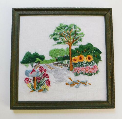 Mid Century Embroidery Picture Framed Trees Sunflowers Mailbox 1970