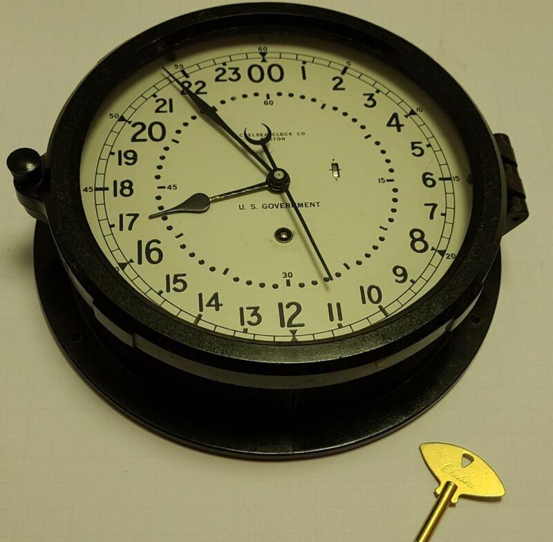 "Vintage CHELSEA Clock Boston U.S. Government 10"" Ship Engine Room Nautical Clock"