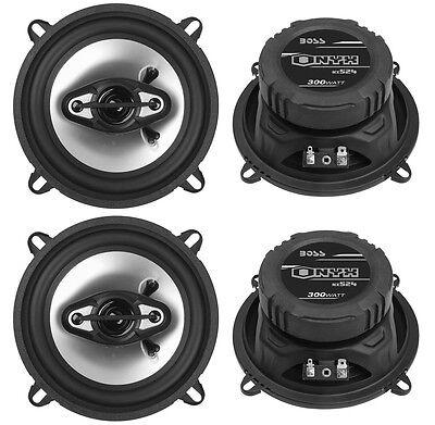 """4) NEW BOSS NX524 5.25"""" 600W 4-Way Car Audio Coaxial Speakers Stereo Black 4 Ohm"""