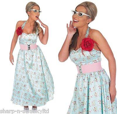 Damen Sexy Blau 1950er Jahre 50er Jahre Rock & Roll Party Kostüm Outfit UK 12-14