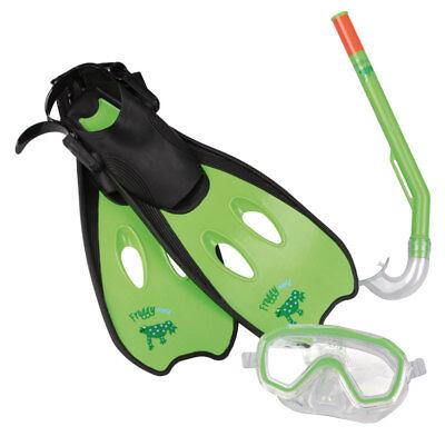 Kinder Tauchset Schwimmflossen Taucherbrille Schnorchel 3-6 Jahre Froggy grün