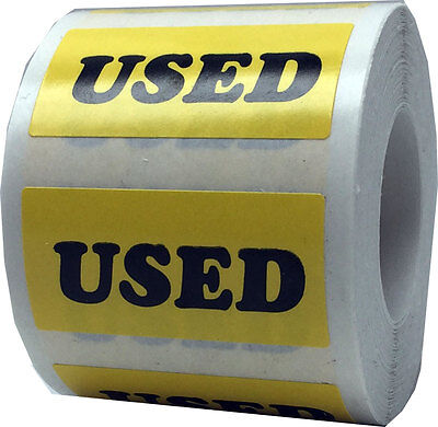 Yellow with Black Used Stickers, 3/4 x 1.5 Inch in Size, 500 Labels on a Roll