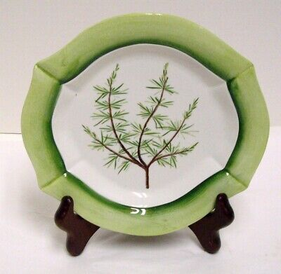 Tam San Italy Hand Painted Plate 4 Sided Scalloped Green and White Leafy Sprig