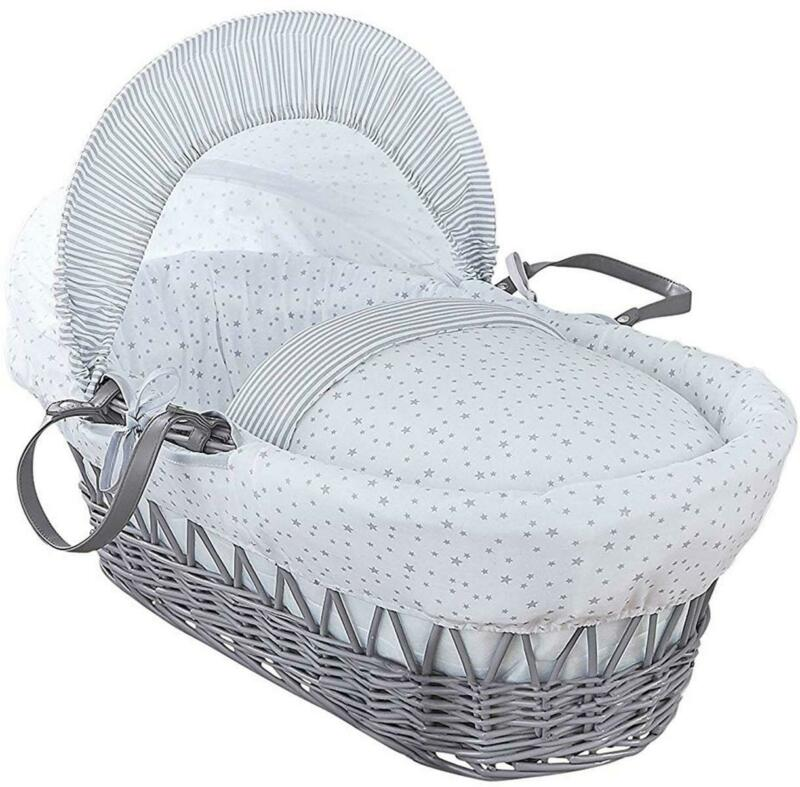 Clair De Lune STARS & STRIPE GREY WICKER MOSES BASKET Newborn Baby Nursery