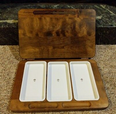 Wooden Folding Plastic Tray Triple Condiment Server with Knife Dining Home