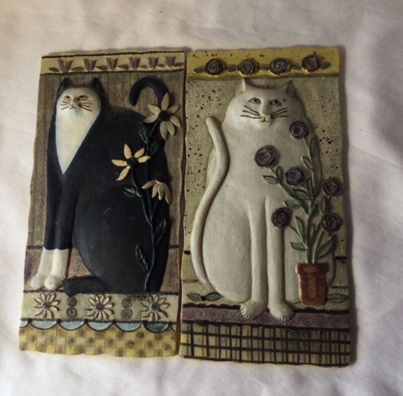 Folk Art Cats 3D Raised Resin Wall Plaques E Smithson SET OF 4