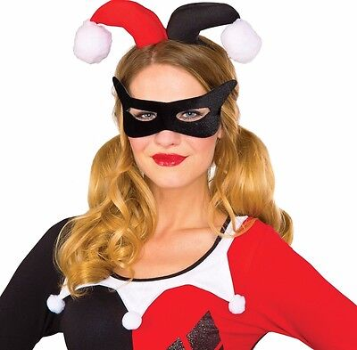 Harley Quinn Eye Mask & Headpiece Costume Accessory Womens Jester Quin - Fast - - Harley Quin Costumes