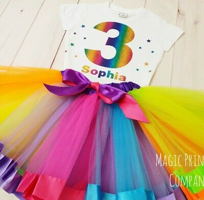 Personalised Rainbow Birthday Outfit Dress  Tutu unicorn 1st 2nd 3rd 4th 5th 6th