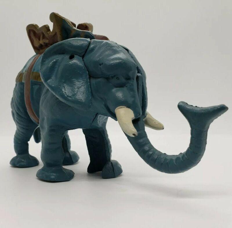 Vintage Cast-Iron Mechanical Circus Elephant Piggy Bank Great Condition