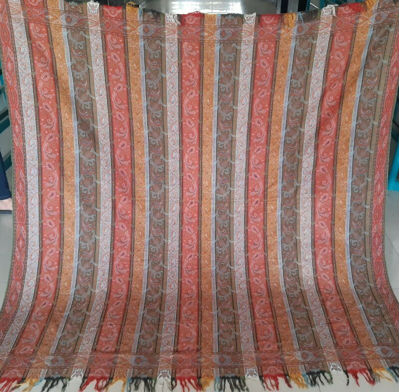 "Antique French Paisley Stripe pashmina Kashmiri square paino shawl  size74""×74"""