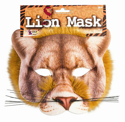 3D LION CLOTH HALF FACE MASK Wizard of Oz Fur Halloween Realistic Circus Tiger ](Realistic Tiger Costume)