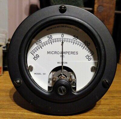 Weston 150-0-150 Analog Galvanometer Round Panel Meter 150ua Dc