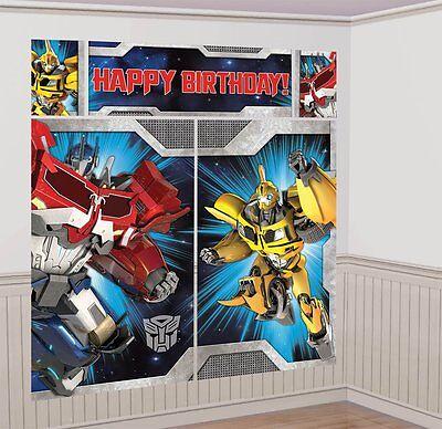 Transformers Optimus Bumblebee Birthday Party Scene Setter Wall Decorating Kit - Transformers Birthday