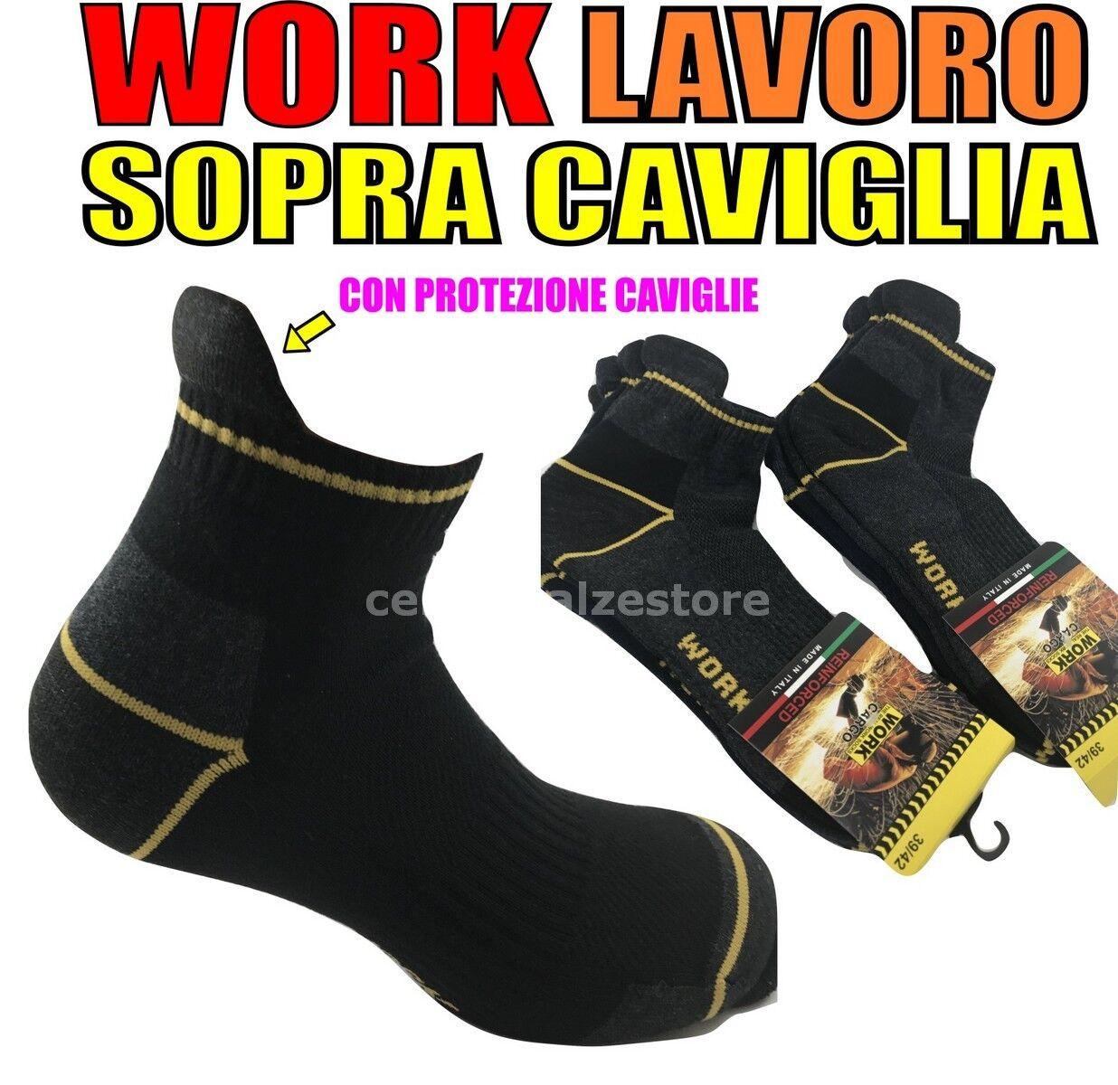6 PAIA CALZE CALZINI UOMO SOPRA LA CAVIGLIA DA LAVORO RINFORZATI WORK SOCKS PRO