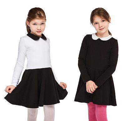 Mädchen Kleid Kinder Kragen Schule xxc13 128-146