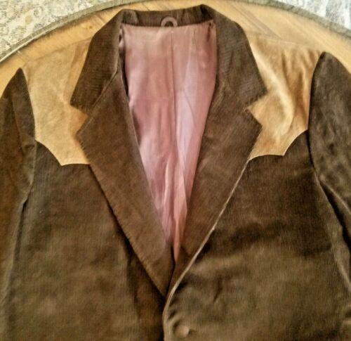 70s Vintage Pioneer Wear Western Sport Coat Mens 46R Blazer Leather Trim