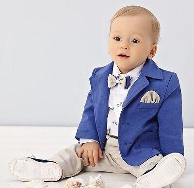 Abito vestito da battesimo maschietto completo in lino cerimonia beige-blu 1972