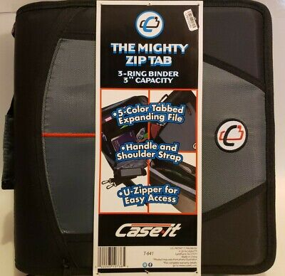 Case-it Mighty Zip Tab 3-inch Zipper Binder Black And Grey New