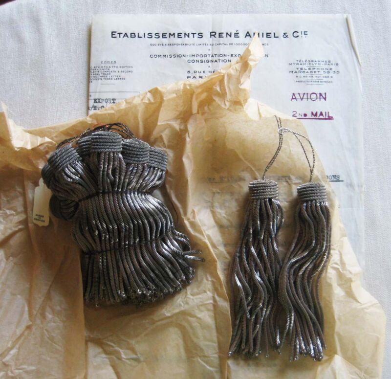 "SPECIAL PRICE 6 Vintage/Antique French Pewter Metallic Bullion 5"" Tassel Fringe"