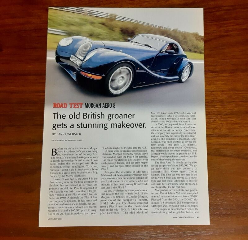 MORGAN AERO 8 MAGAZINE ARTICLE CAR AND DRIVER ROAD TEST