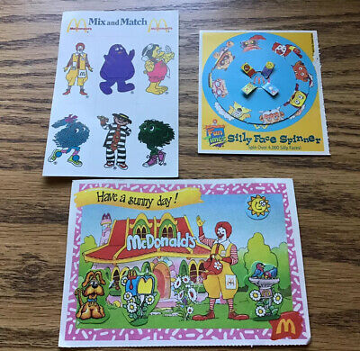 Vintage 1988-1992 McDonald's Stickers, Postcard, Stencil, & Spinner