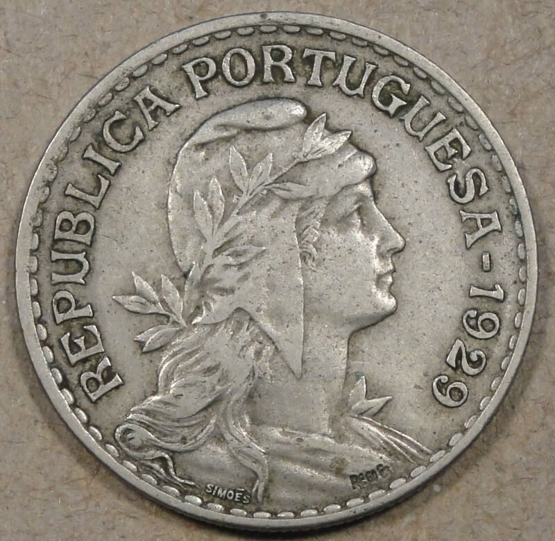 Portugal 1929 Escudo Better Circulated Grade Coin