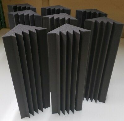"ACOUSTIC STUDIO WEDGE FOAM CORNER KIT BASE ABSORBERS (8 Pack) 6""X 6""X 24"""