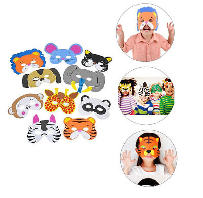 12pc Kids Jungle Animal Foam Masks Costume Dress Up Birthday Party Favors