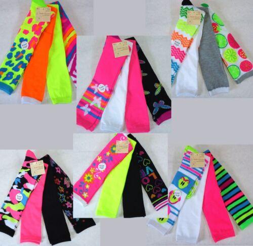 Womens Over Knee High Socks, 4 Pair Lot, Cute Fun, Bright, P