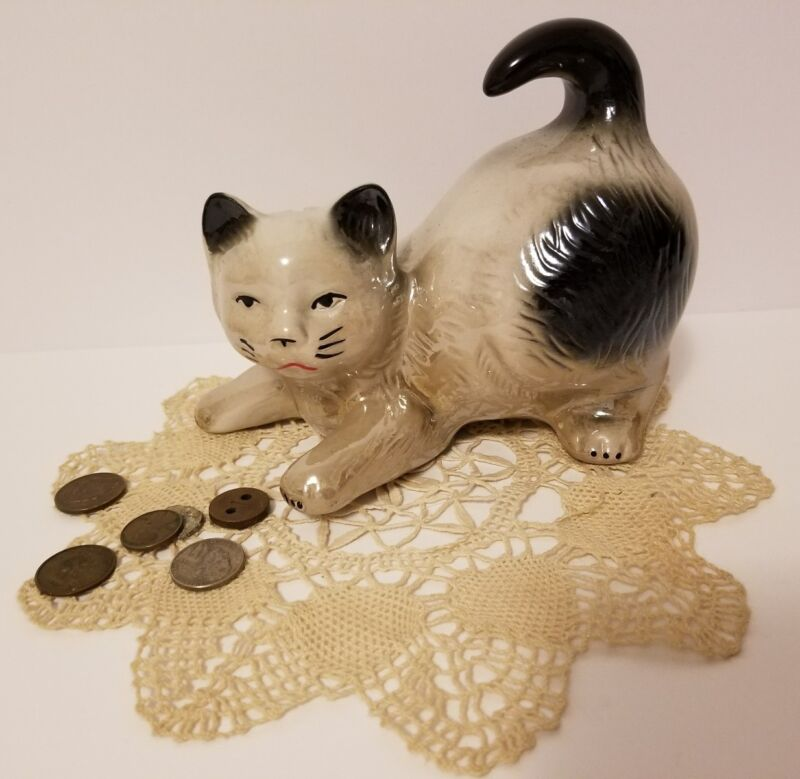 Collectible Antique Luster Glaze Ceramic Kitty Bank, Cat Collectibles