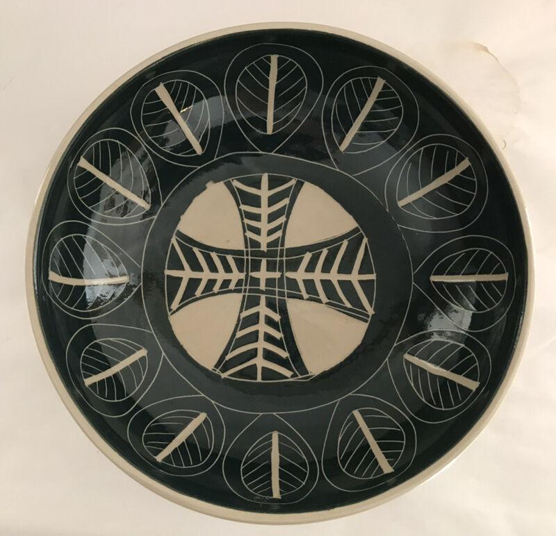 Arabia Kaj Franck ServIng Bowl Dish Leaf Finland Mid- Century Green Pottery