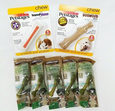 Petstages 1 Beyond Bone 1 Dogwood & 5 Kirkland Dental Chews For Small Dogs New