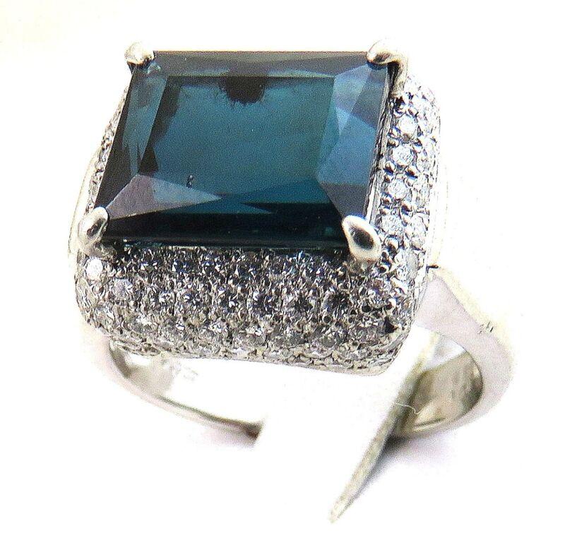 Stunning Platinum 5ct Indicolite Tourmaline 1.08ct Diamond Ring 11.9gms