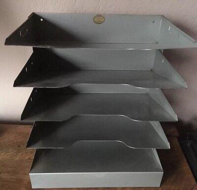Vintage Gray Metal Five 5 Tray Desk Top Paper Organizer
